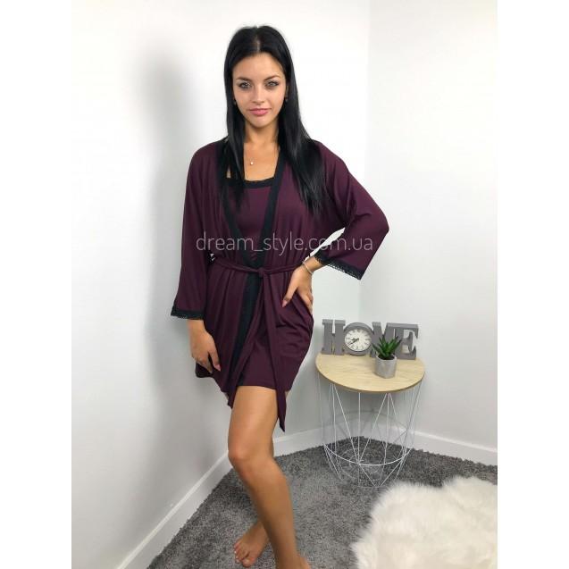 Комплект халат и рубашка вишневый с черным кружевом