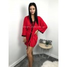Комплект халат и рубашка красный  с черным кружевом