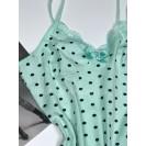 Мятное женская ночная рубашка в горошек