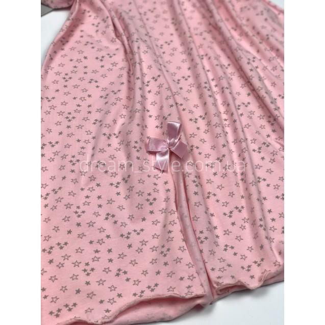 Ночнушка большого размера розовая со звездочками