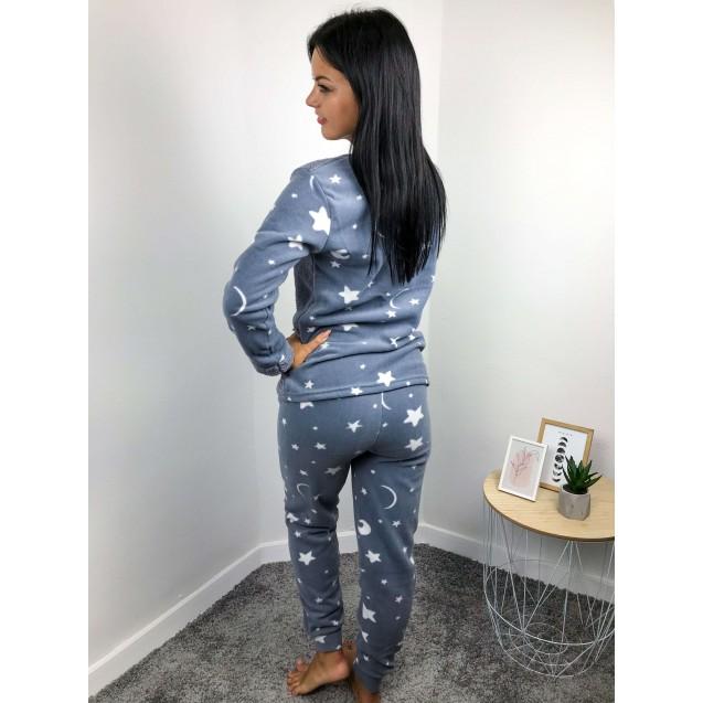Женская теплая пижама велсофт серая