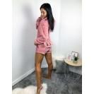 Женская теплая пижама кофта и шорты пудровая