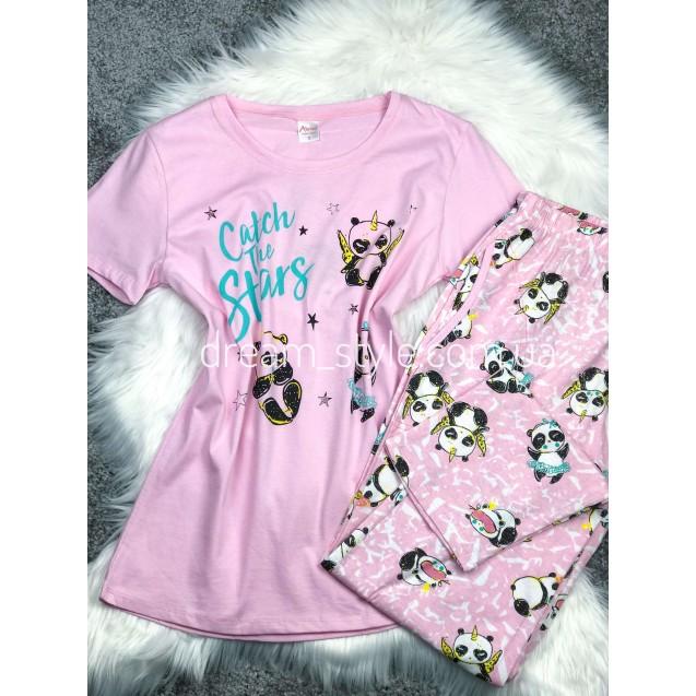Розовая трикотажная женская пижама штаны с футболкой