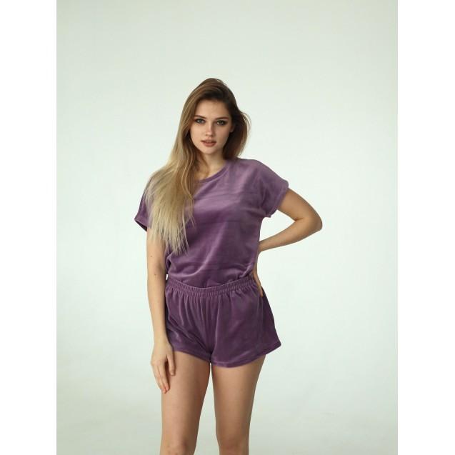 Лиловая велюровая пижама