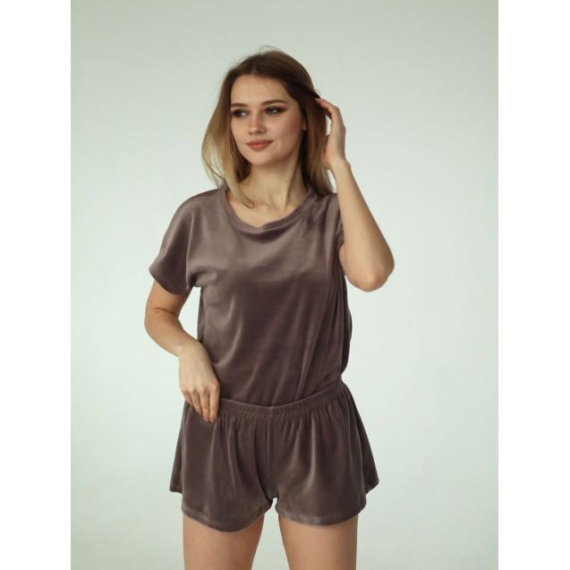 Пижама из микровелюра мокко
