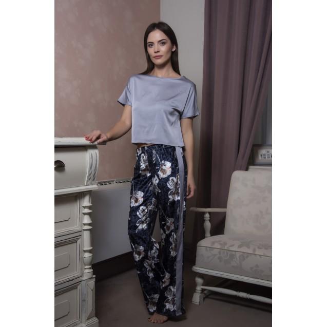 Женский комплект для дома серый шелковый топ и велюровые штаны