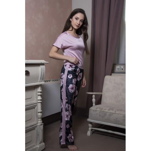 Домашний комплект пудровый шелковый топ и велюровые штаны