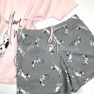 Женская пижама футболка и шорты розовая с принтом