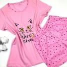 Пижама женская с котиком розовая