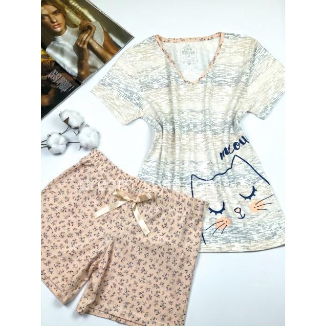 Женская трикотажная пижама с шортами