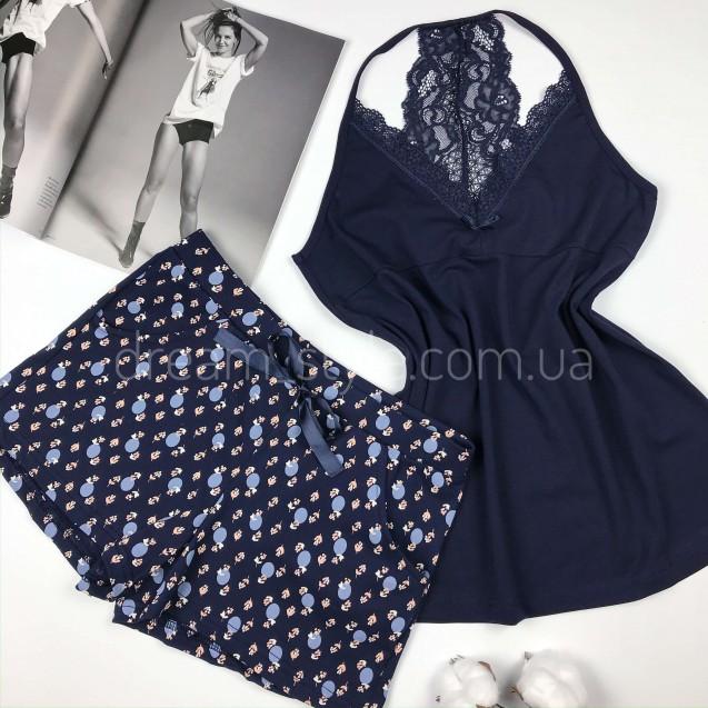 Синяя женская пижама с кружевом на спине