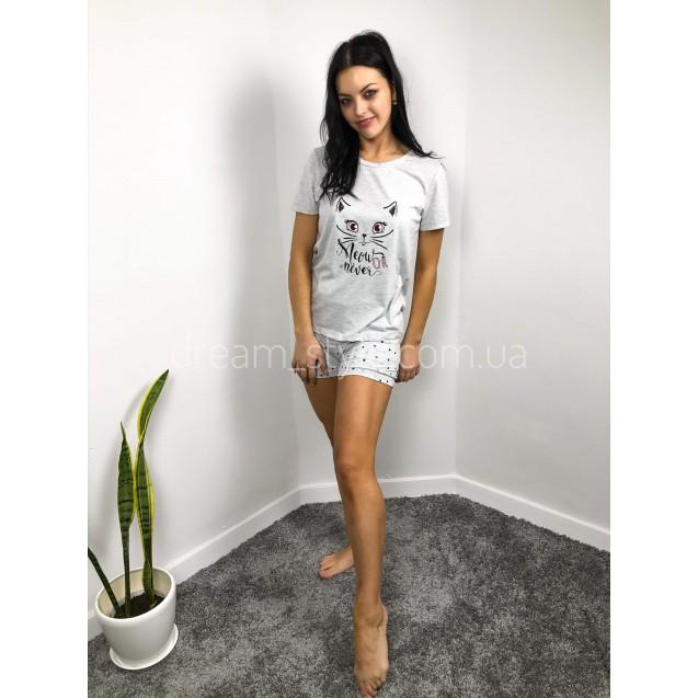 Пижама женская с котиком серая