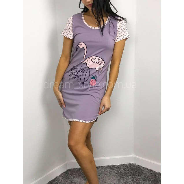 Женская домашняя туника Фиолетовый фламинго