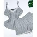 Серая пижама с белым кружевом майка и шорты