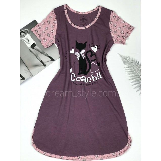Женская домашняя туника Фиолетовый котик