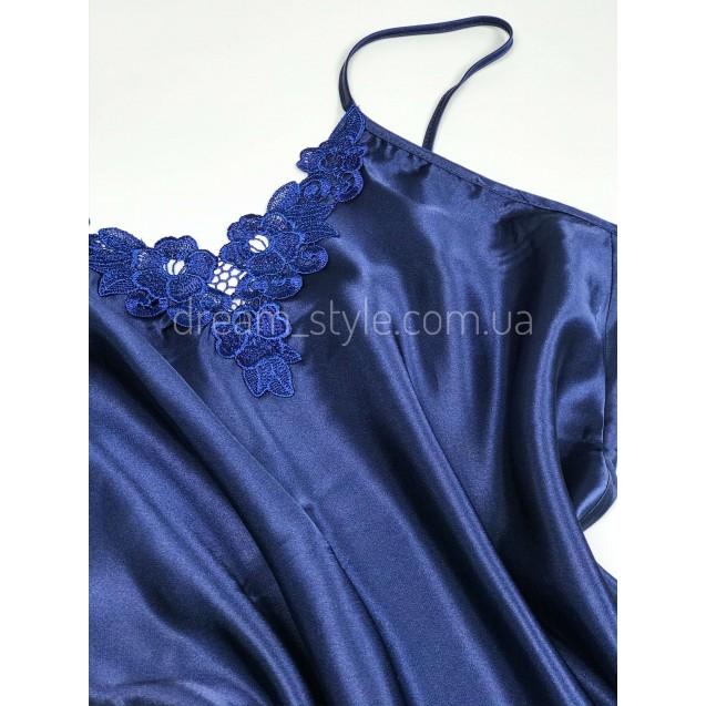 Синий атласный пеньюар