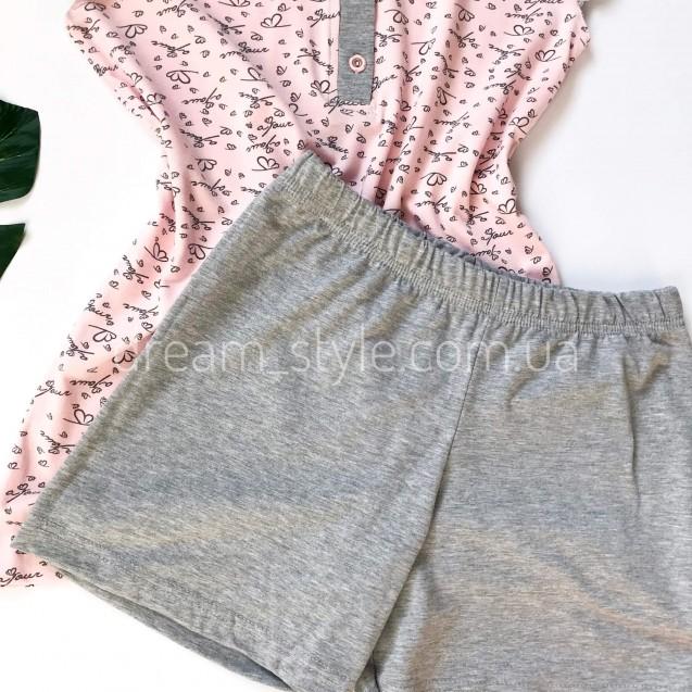 Пижама трикотажная футболка с пуговицами и шорты