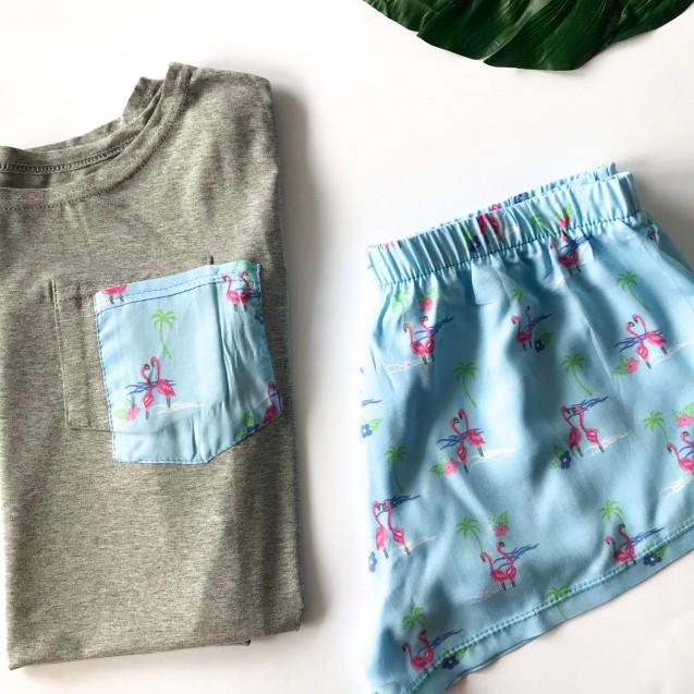 Женская пижама футболка и шорты с фламинго