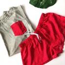 Пижама женская футболка и красные шорты
