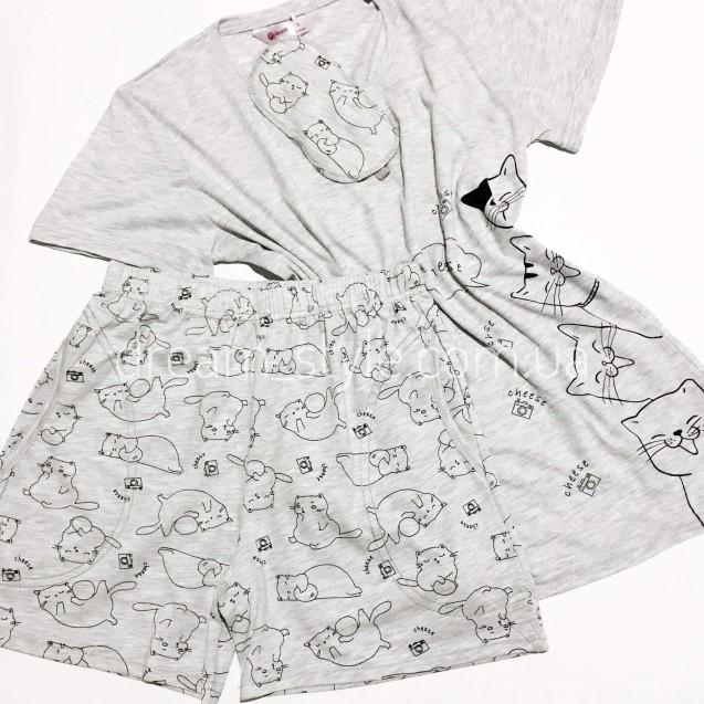 Пижама хб футболка и шорты серая
