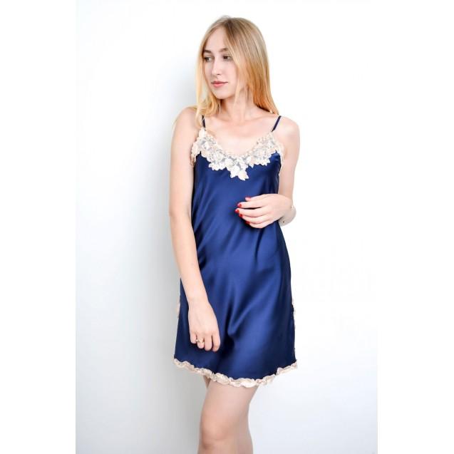 Женский пеньюар синего цвета с кружевом