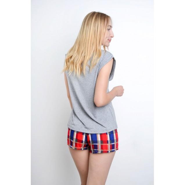 Пижама женская футболка и шорты в клетку