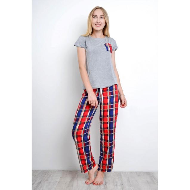 Пижама женская футболка со штанами в клетку