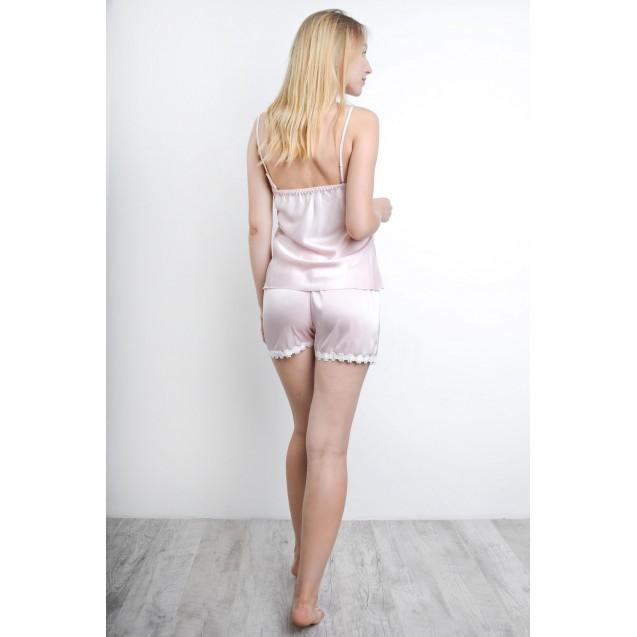 Розовая шелковая пижама с кружевом