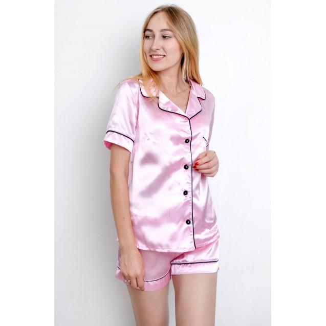 Розовая атласная пижама рубашка и шорты
