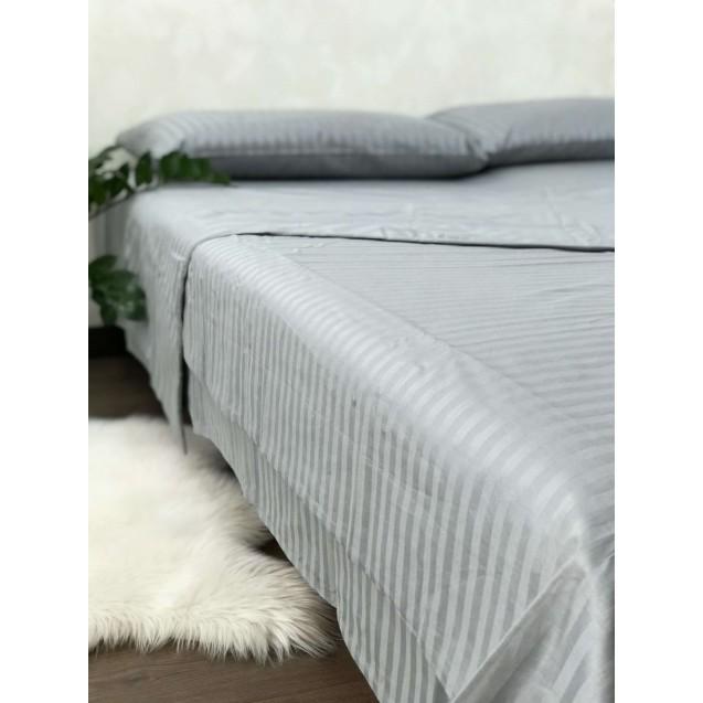 Серое двуспальное постельное белье из страйп-сатина