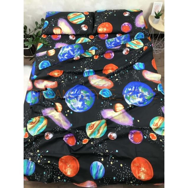 Полуторная комплект постельного белья Космос