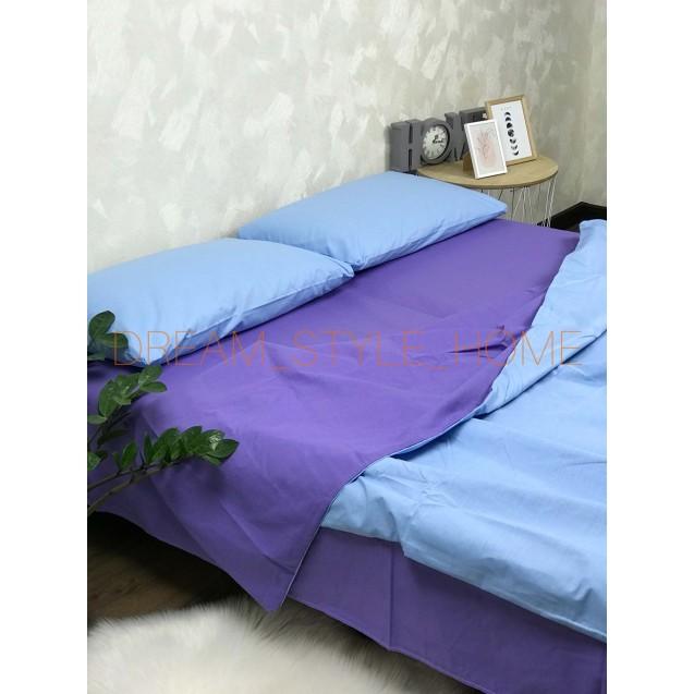 Комплект постельного белья евро размер в голубовато-фиолетовом цвете