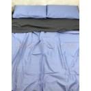 Двуспальное однотонное постельное белье Сине-графитовое