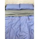 Двуспальное однотонное постельное белье Сине-серое