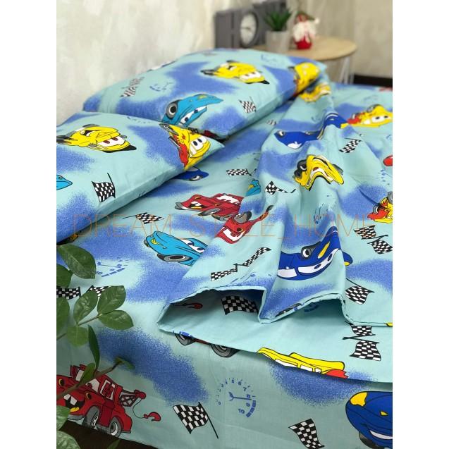 Детскок полуторное постельное белье  Тачки синие