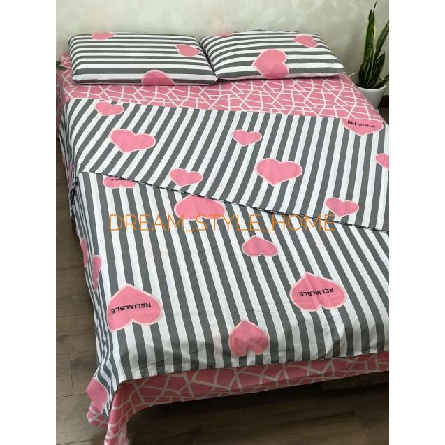 Комплект постельного белья евро размер розовое сердце
