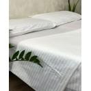 Белое постельное белье в евро размере с страйп-сатина