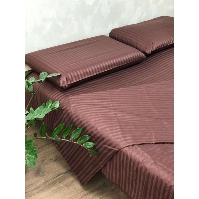 Коричневое двуспальное постельное белье из страйп-сатина