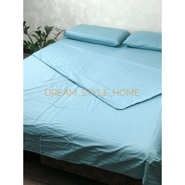 Бирюзовое двуспальное постельное белье из страйп-сатина